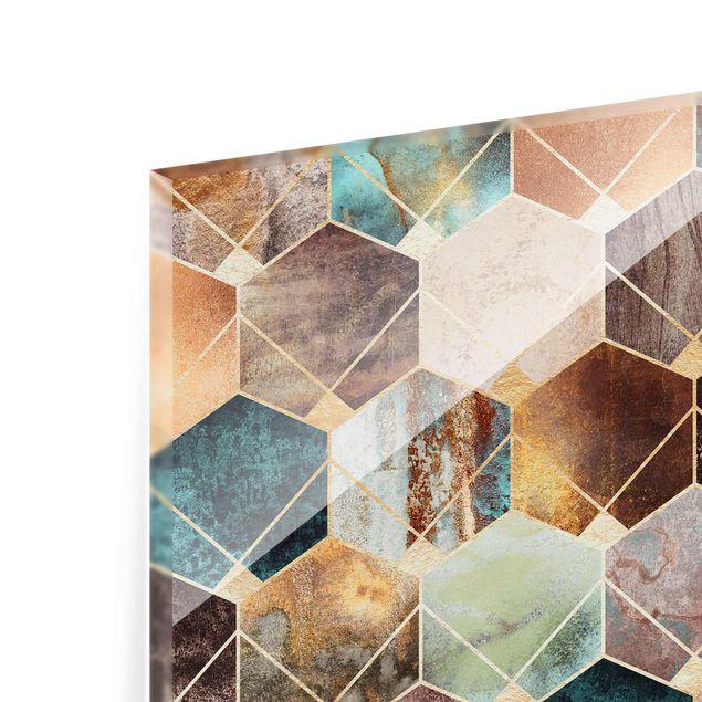 Glasbild - Türkise Geometrie goldenes Art Deco - Querformat 2:3