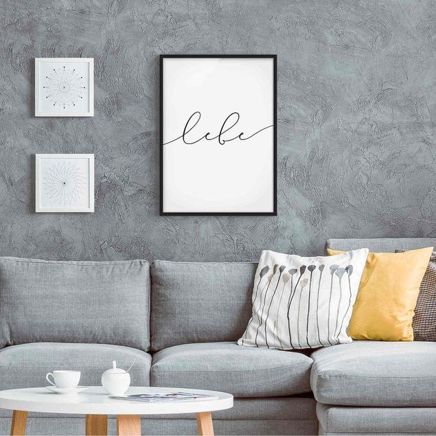 Bild mit Rahmen - Lebe Kalligraphie - Hochformat 3:4