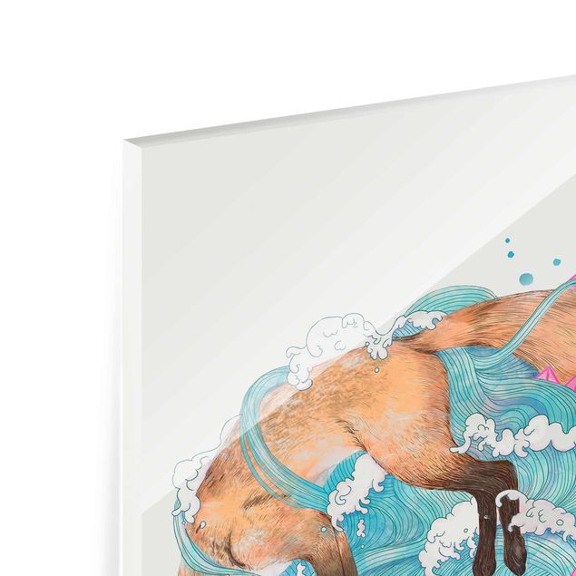 Glasbild - Illustration Füchse und Wellen Malerei - Hochformat 4:3