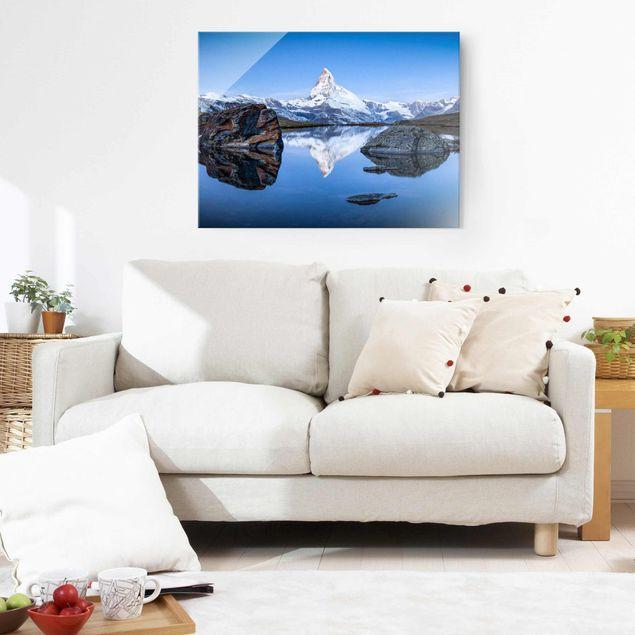 Glasbild - Stellisee vor dem Matterhorn - Querformat 4:3