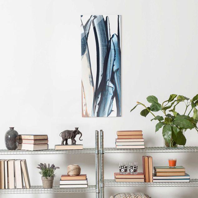 Glasbild - Blau und Beige Streifen - Panel