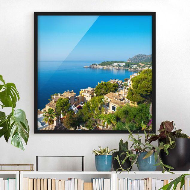 Bild mit Rahmen - Cala Fornells in Mallorca - Quadrat 1:1