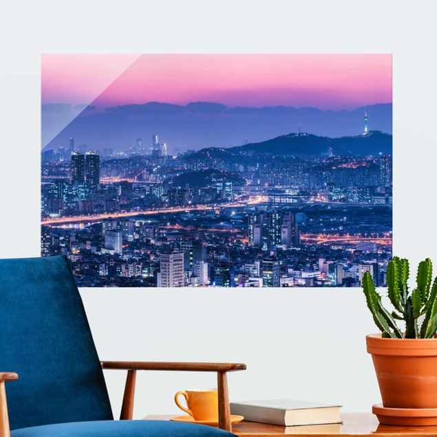 Glasbild - Skyline von Seoul - Querformat 3:2