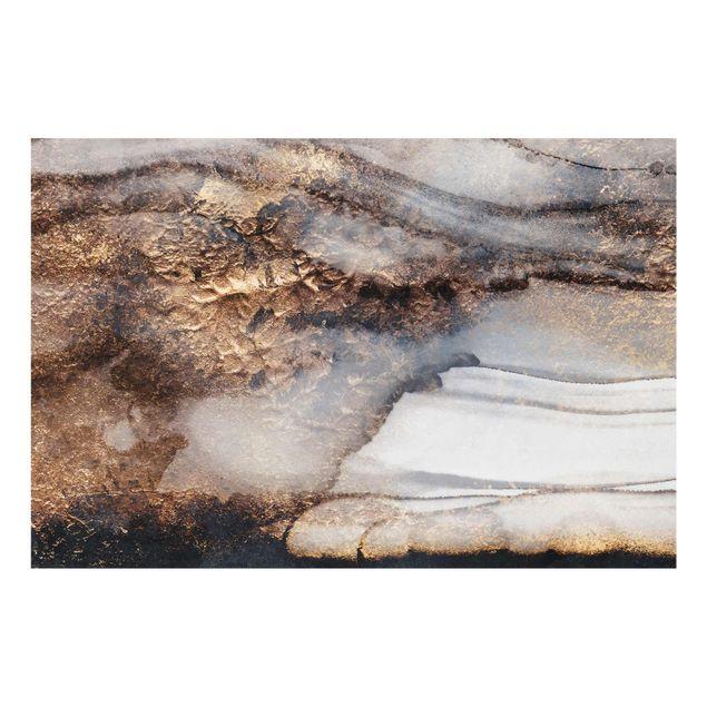 Glasbild - Goldener Marmor gemalt - Querformat 2:3