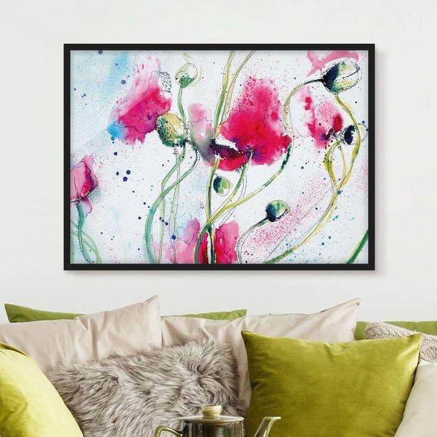 Bild mit Rahmen - Painted Poppies - Querformat 3:4