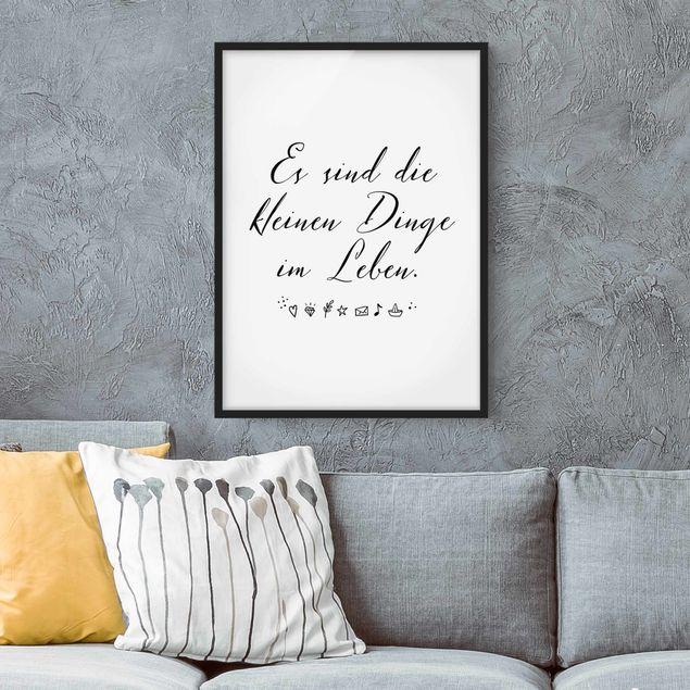 Bild mit Rahmen - Es sind die kleinen Dinge im Leben - Hochformat 3:4