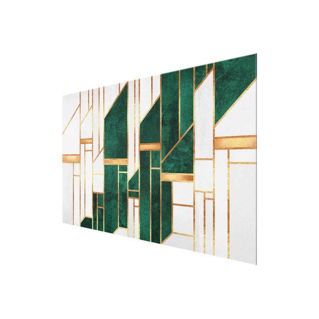 Glasbild - Elisabeth Fredriksson - Emerald und Gold Geometrie - Querformat 3:2
