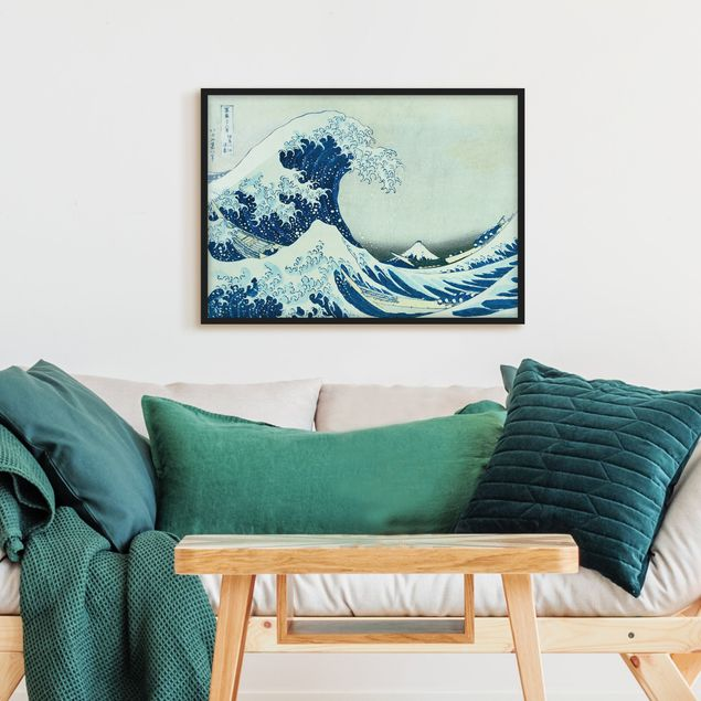 Bild mit Rahmen - Katsushika Hokusai - Die grosse Welle von Kanagawa - Querformat 3:4