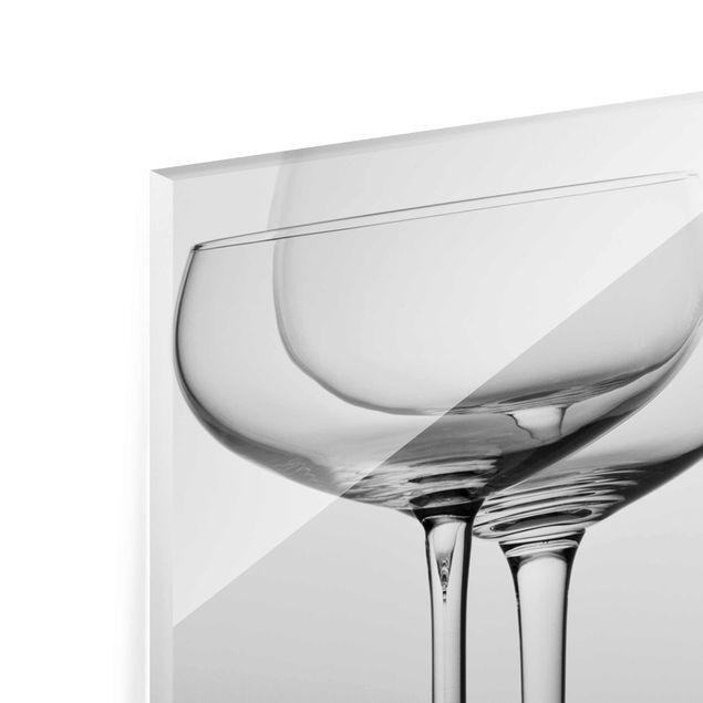 Glasbild - Edle Gläser Schwarz-Weiß - Panorama