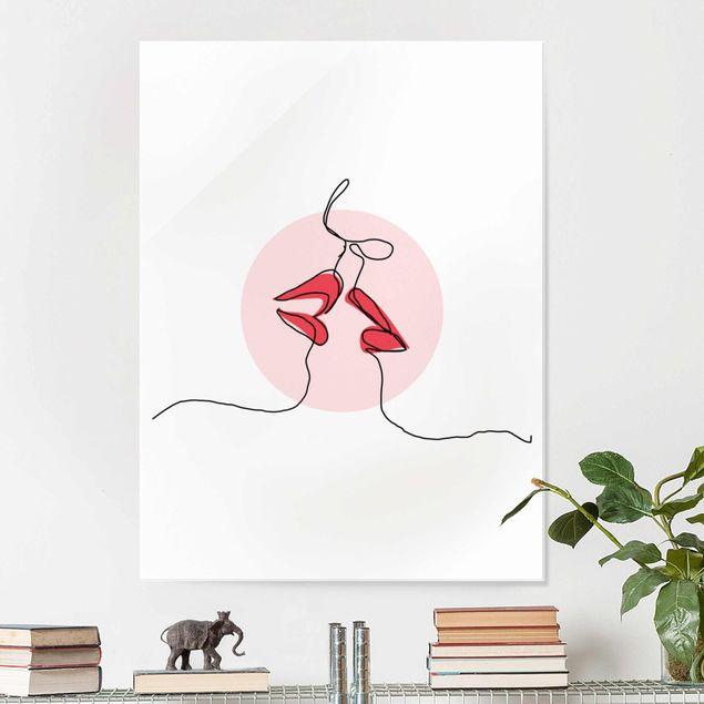 Glasbild - Lippen Kuss Line Art - Hochformat 4:3