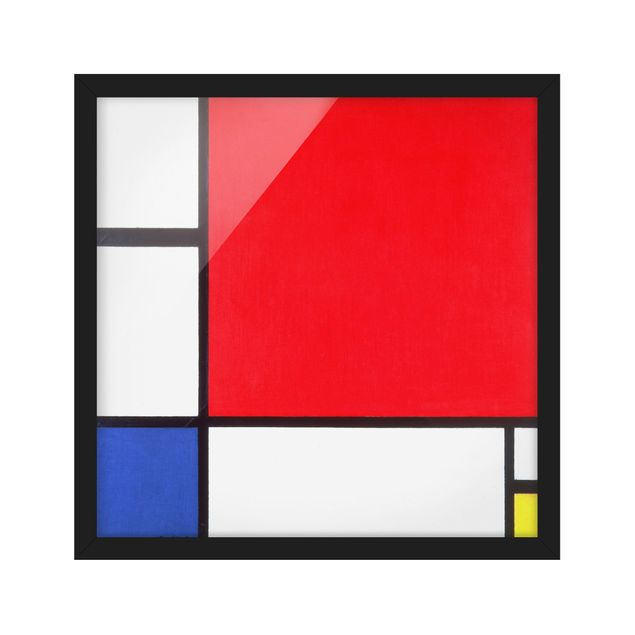 Bild mit Rahmen - Piet Mondrian - Komposition Rot Blau Gelb - Quadrat 1:1