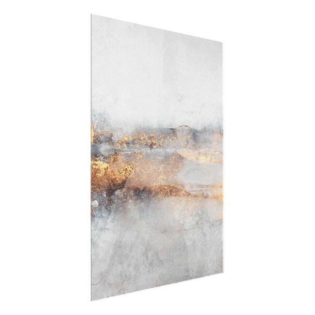 Glasbild - Elisabeth Fredriksson - Gold-Grauer Nebel - Hochformat 3:4