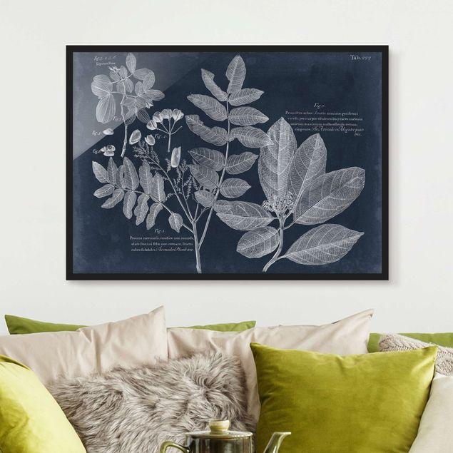 Bild mit Rahmen - Blattwerk Dunkelblau - Avocado - Querformat 3:4