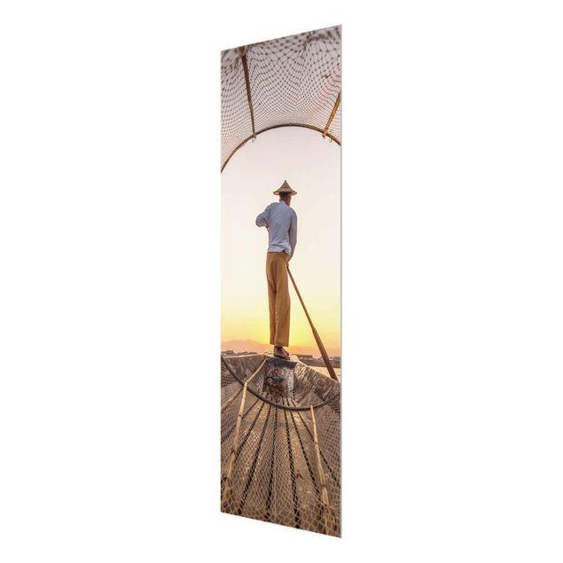 Glasbild - Intha Fischer am Morgen - Panel