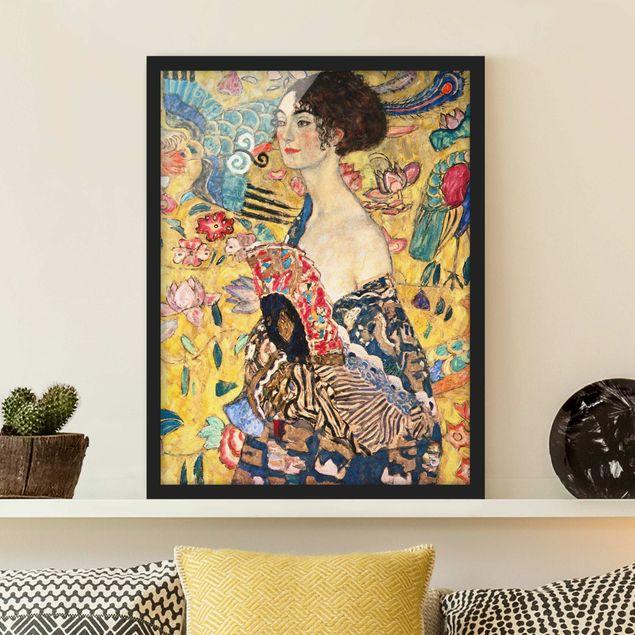 Bild mit Rahmen - Gustav Klimt - Dame mit Fächer - Hochformat 4:3