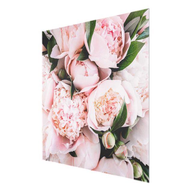 Glasbild - Rosa Pfingstrosen mit Blättern - Quadrat 1:1