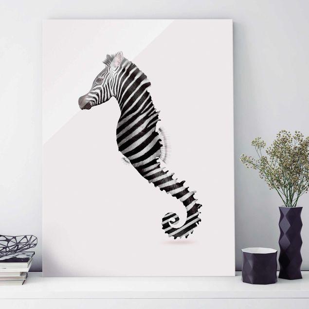 Glasbild - Jonas Loose - Seepferdchen mit Zebrastreifen - Hochformat 4:3
