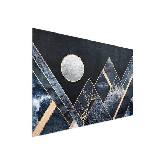 Glasbild - Goldener Mond abstrakte schwarze Berge - Querformat 2:3