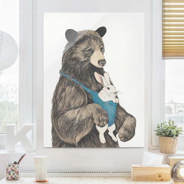 Glasbild - Illustration Bär und Hase Baby - Hochformat 4:3