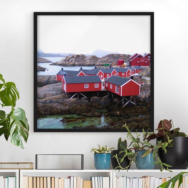 Bild mit Rahmen - Siedlung im Fjord - Quadrat 1:1