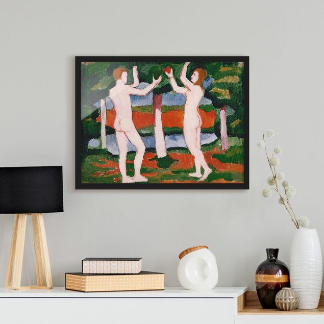 Bild mit Rahmen - August Macke - Adam und Eva - Querformat 3:4