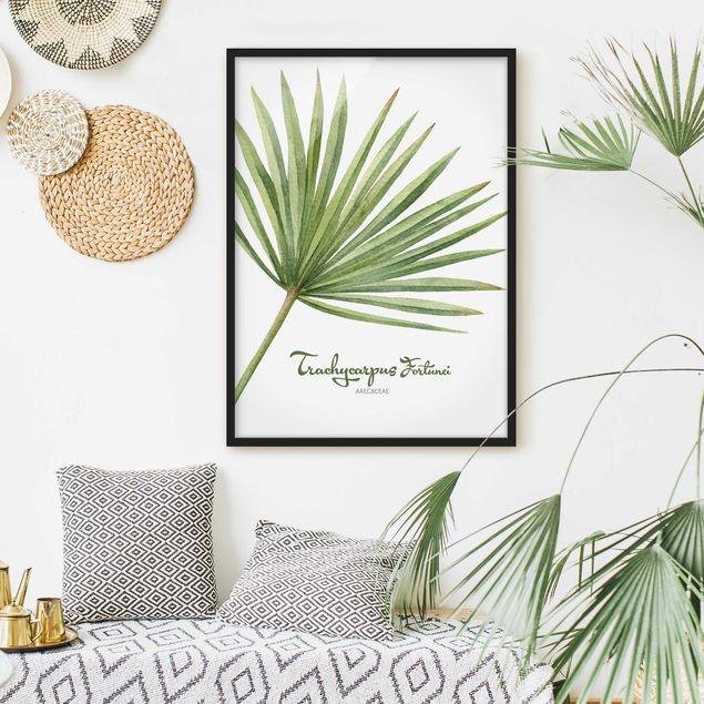 Bild mit Rahmen - Aquarell Botanik Trachycarpus fortunei - Hochformat 3:4