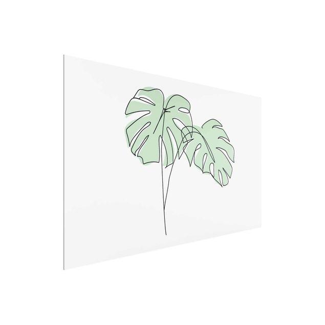 Glasbild - Monstera Blätter Line Art - Querformat 2:3