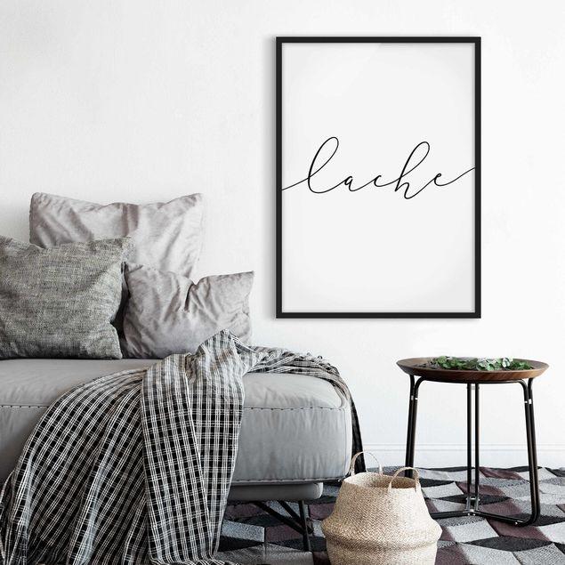 Bild mit Rahmen - Lache Kalligraphie - Hochformat 3:4