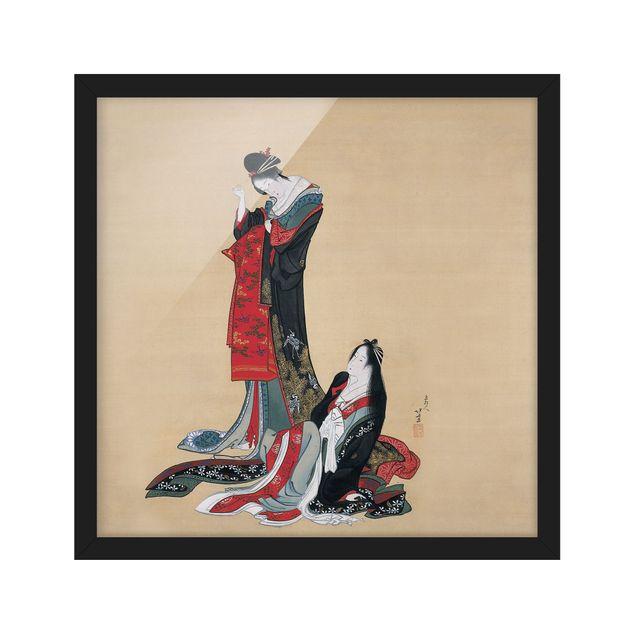 Bild mit Rahmen - Katsushika Hokusai - Zwei Kurtisanen - Quadrat 1:1