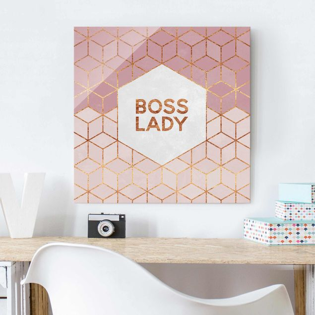 Glasbild - Boss Lady Sechsecke Rosa - Quadrat 1:1