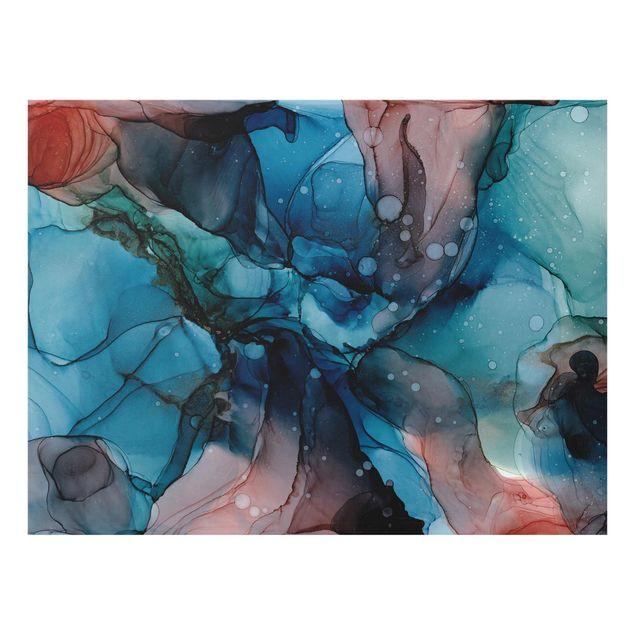 Glasbild - Unterwasser in Petrol und Rot mit Gold - Querformat 4:3