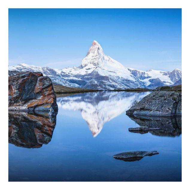 Glasbild - Stellisee vor dem Matterhorn - Quadrat 1:1
