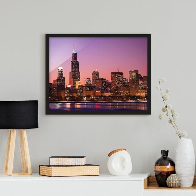 Bild mit Rahmen - Chicago Skyline - Querformat 3:4