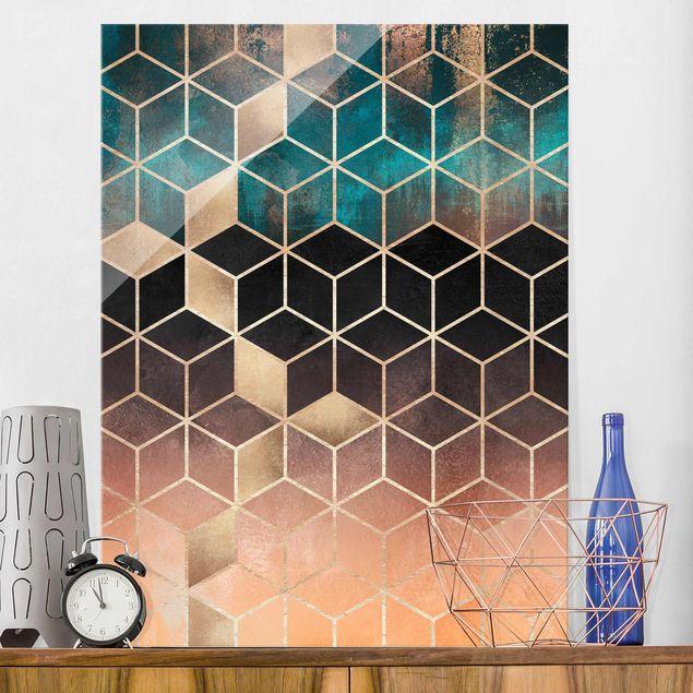 Glasbild - Türkis Rosé goldene Geometrie - Hochformat 4:3