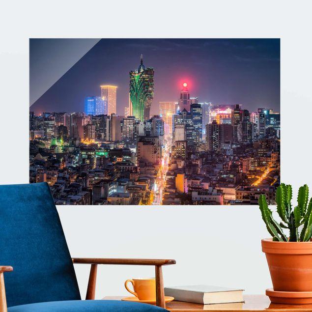 Glasbild - Nachtlichter von Macau - Querformat 3:2