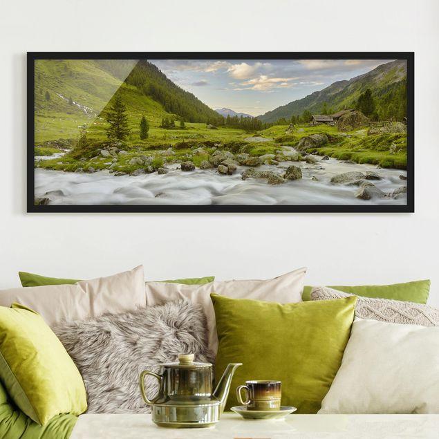 Bild mit Rahmen - Alpenwiese Tirol - Panorama Querformat