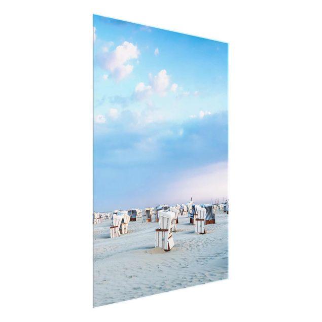 Glasbild - Strandkörbe an der Nordsee - Hochformat 3:4