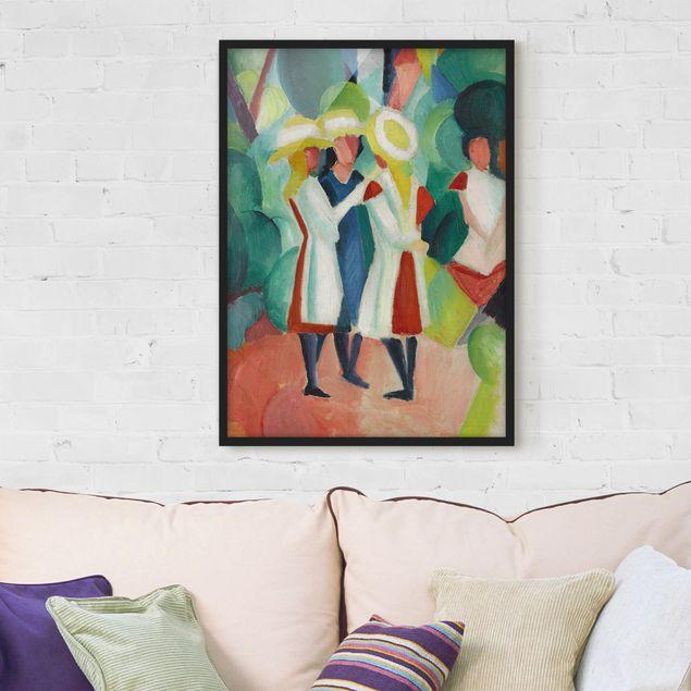 Bild mit Rahmen - August Macke - Drei Mädchen - Hochformat 3:4