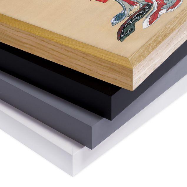 Bild mit Rahmen - Katsushika Hokusai - Zwei Kurtisanen - Hochformat 3:4