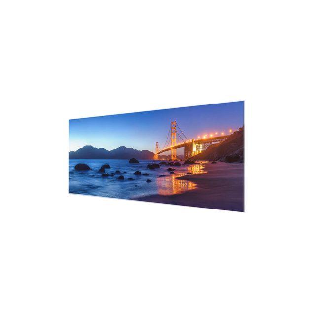 Glasbild - Golden Gate Bridge am Abend - Panorama