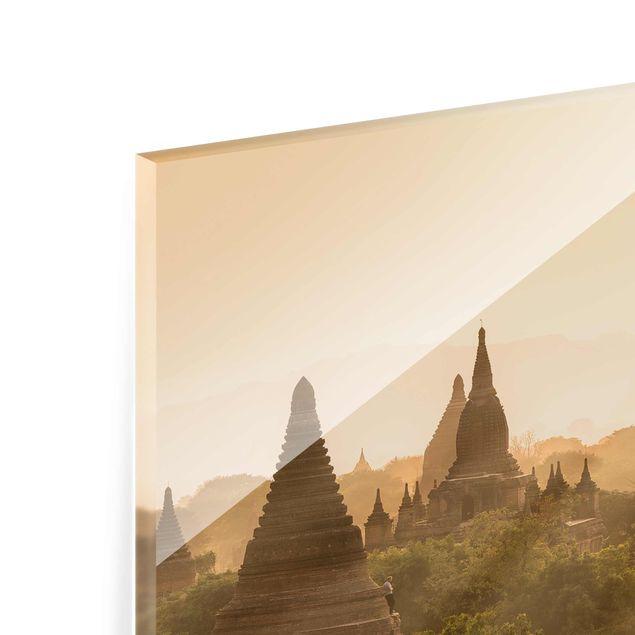 Glasbild - Sonnenuntergang über Bagan - Querformat 4:3