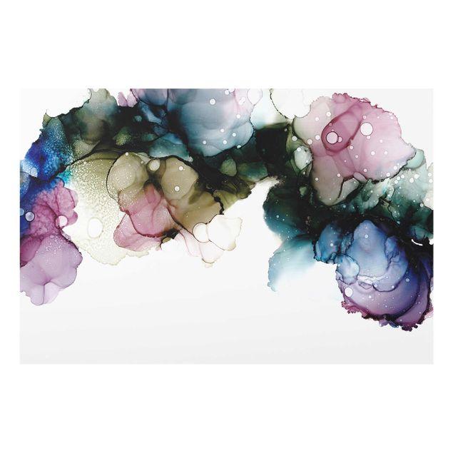 Glasbild - Blumenbogen mit Gold - Querformat 3:2