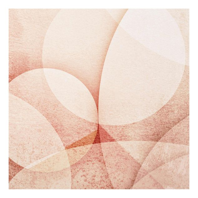 Glasbild - Abstrakte Grafik in Pfirsich - Quadrat