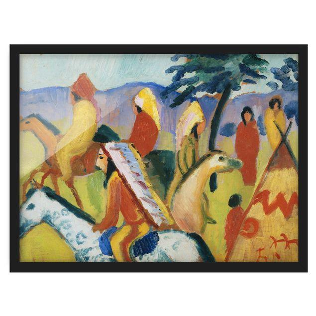 Bild mit Rahmen - August Macke - Reitende Indianer beim Zelt - Querformat 3:4
