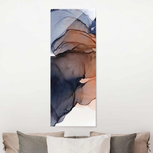 Glasbild - Ozeantropfen Blau-Orange mit Gold - Panel