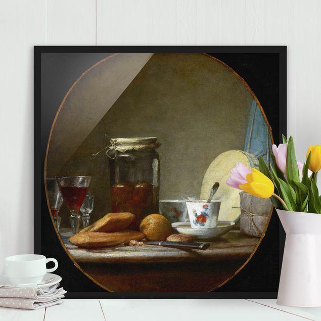 Bild mit Rahmen - Jean-Baptiste Siméon Chardin - Glas mit Aprikosen - Quadrat 1:1