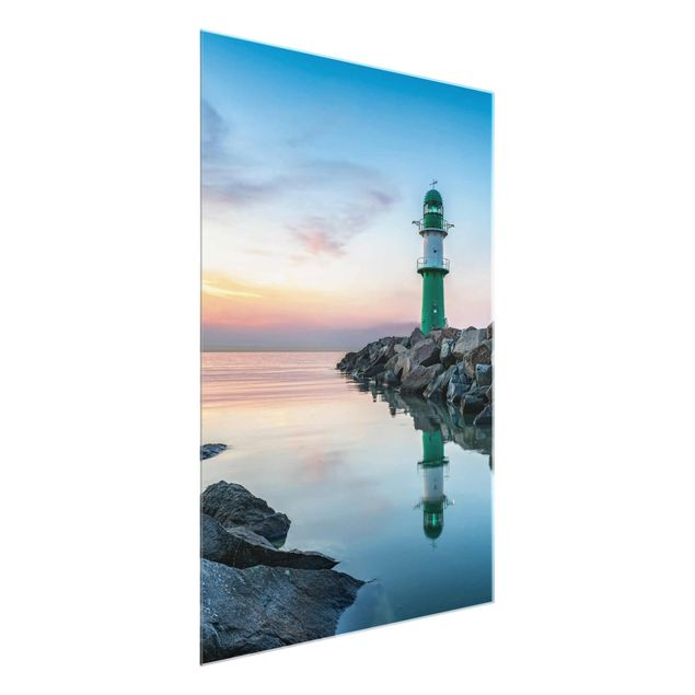 Glasbild - Sunset at the Lighthouse - Hochformat 3:4