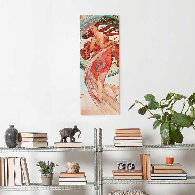 Glasbild - Alfons Mucha - Vier Künste - Der Tanz - Panel