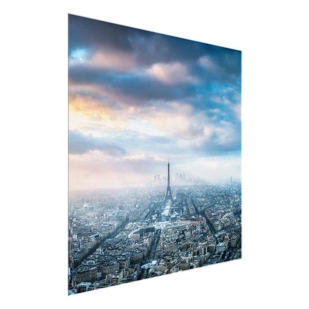 Glasbild - Winter in Paris - Quadrat 1:1