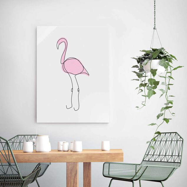 Glasbild - Flamingo Line Art - Hochformat 4:3